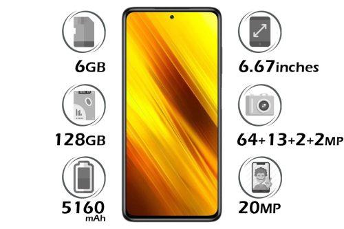 گوشی شیائومی Poco X3 NFC حافظه 128 گیگابایت رم 6 گیگابایت