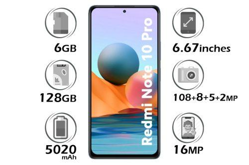 گوشی شیائومی Redmi Note 10 Pro حافظه 128 گیگابایت رم 6 گیگابایت